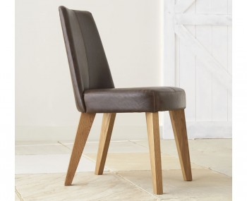 Cadell Rustic Oak and Espresso Faux Leather Upholstered Dining Chair