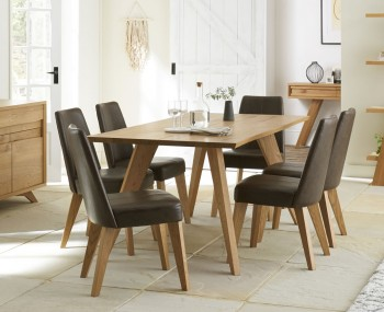Cadell Rustic Oak 6 Seater Dining Table and Chairs