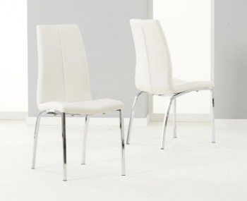 Flynn White Faux Leather Dining Chairs - Set of 2 *Special Offer*