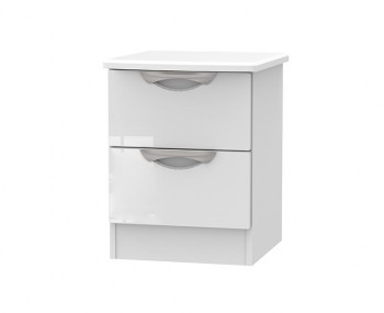 Halifax White High Gloss 2 Drawer Bedside Chest
