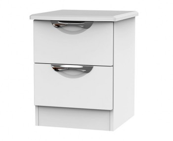 Halifax White Matt 2 Drawer Bedside Chest