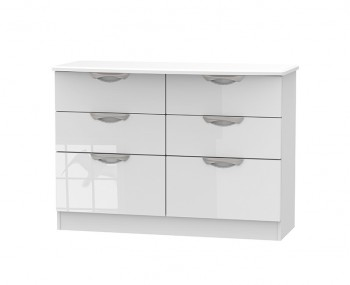 Halifax White High Gloss 6 Drawer Midi Chest