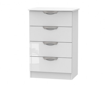 Halifax White High Gloss 4 Drawer Midi Chest