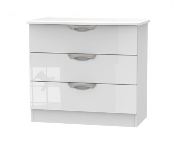 Halifax White High Gloss 3 Drawer Chest