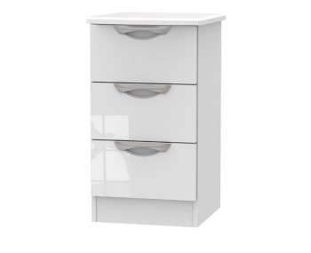 Halifax White High Gloss 3 Drawer Bedside Chest