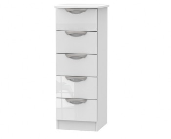 Halifax White High Gloss 5 Drawer Tallboy Chest