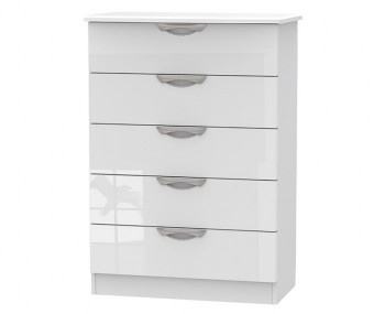 Halifax White High Gloss 5 Drawer Chest