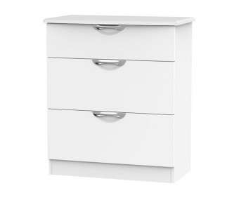 Halifax White Matt 3 Drawer Deep Chest