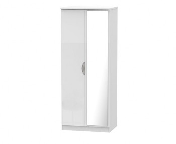 Halifax White High Gloss 2 Door Mirror Wardrobe