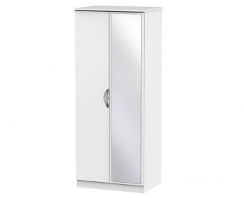 Halifax White Matt 2 Door Mirror Wardrobe