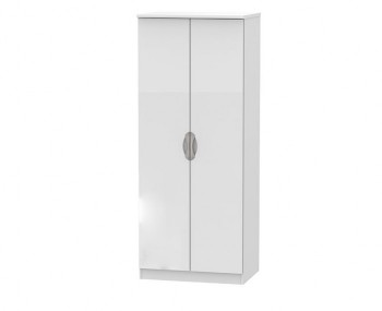 Halifax White High Gloss 2 Door Wardrobe