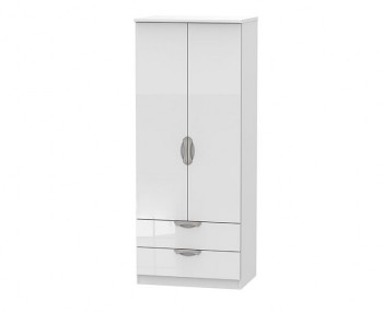Halifax White High Gloss 2 Door 2 Drawer Wardrobe