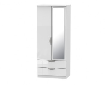 Halifax White High Gloss 2 Door 2 Drawer Mirrored Wardrobe