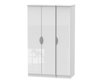 Halifax White High Gloss Triple Wardrobe
