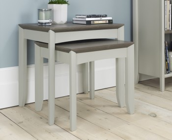 Bergen Oak & Soft Grey Nest of Tables