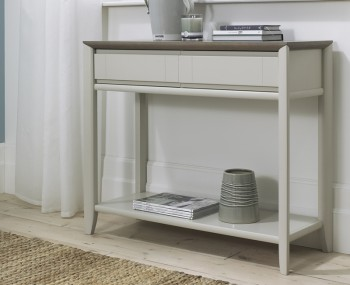 Bergen Oak & Soft Grey Console Table