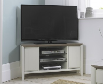 Bergen Oak & Soft Grey Corner Entertainment Unit