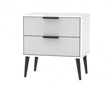 Hong Kong Grey Matt 2 Drawer Wide Bedside Chest