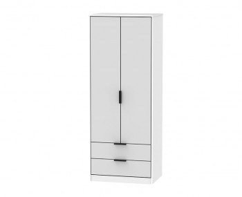 Hong Kong Grey Matt 2 Door 2 Drawer Wardrobe
