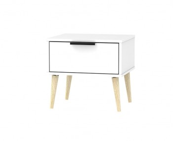 Hong Kong White Matt 1 Drawer Nightstand