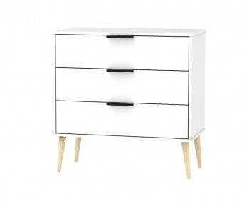 Hong Kong White Matt 3 Drawer Midi Chest