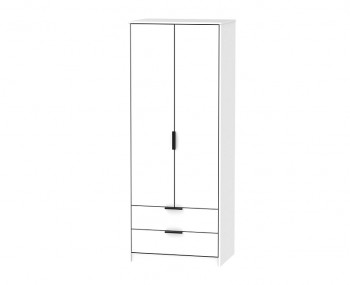 Hong Kong White Matt 2 Door 2 Drawer Wardrobe