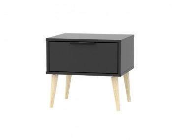 Hong Kong Black Matt 1 Drawer Nightstand