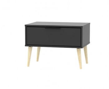 Hong Kong Black Matt 1 Drawer Wide Nightstand