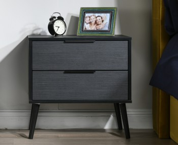 Hong Kong Black Matt 2 Drawer bedside Midi Chest
