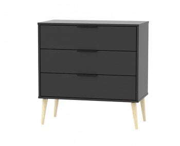 Hong Kong Black Matt 3 Drawer Midi Chest