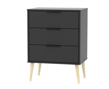 Hong Kong Black Matt 3 Drawer Chest