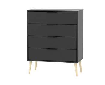 Hong Kong Black Matt 4 Drawer Chest