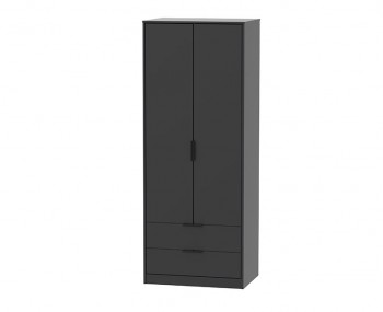 Hong Kong Black Matt 2 Door 2 Drawer Wardrobe