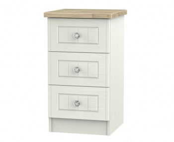 Naples Kaschmir Two-Tone And Crystal 3 Drawer Bedside Chest