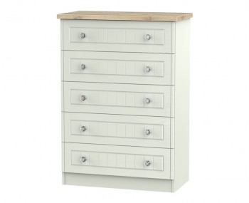 Naples Kaschmir Two–Tone And Crystal 5 Drawer Chest
