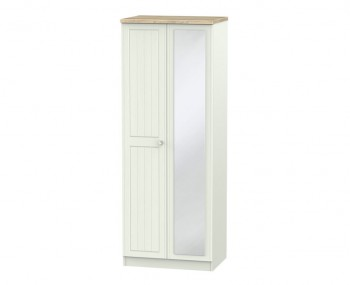 Naples Kaschmir Two-Tone And Crystal 2 Door Tall Wardrobe with Mirror