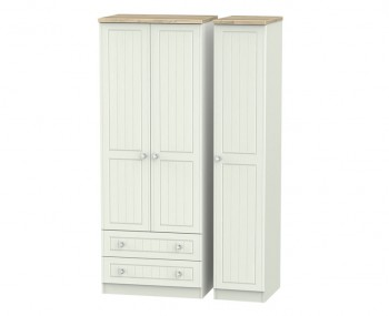 Naples Kaschmir Two-Tone And Crystal 3 Door 2 Drawer Wardrobe