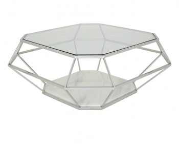 Boyce Silver Glass & Marble Effect Coffee Table