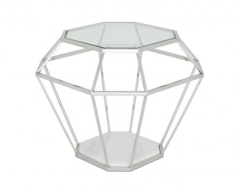 Boyce Silver Glass & Marble Effect Lamp Table