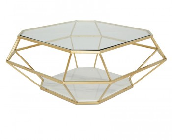 Boyce Golden Glass & Marble Effect Coffee Table