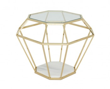 Boyce Gold Glass & Marble Effect Lamp Table