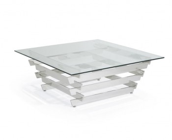 Galactic Glass and Silver Square Coffee Table