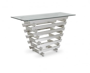 Galactic Glass and Silver Console Table