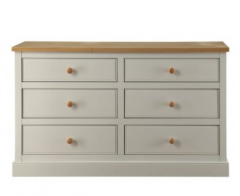 Dove Grey and Ash 6 Drawer Wide Chest
