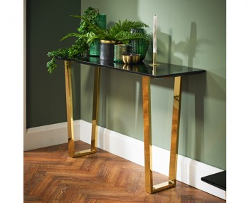 Libe Gold and Black Glass Console Table