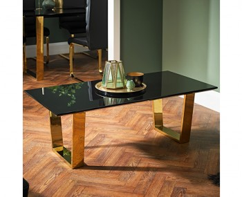 Libe Gold and Black Glass Coffee Table