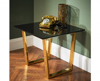 Libe Gold and Black Glass Lamp Table