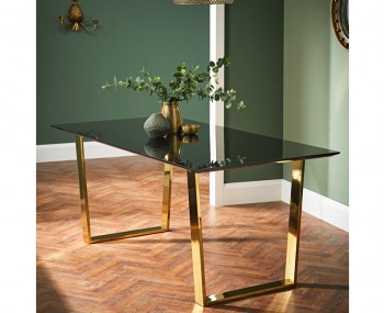 Libe Gold and Black Glass Dining Table
