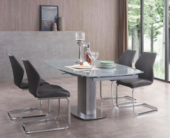 Rowan Dark Grey Glass Extending Dining Set