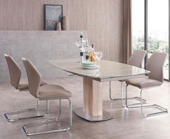 Rowan Taupe Glass Extending Dining Set